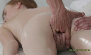 Pale redhead bawdy cleft fingered by masseur