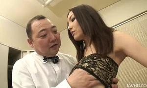 Nozomi mashiro takes matters in hand as this babe bosses an old dude around