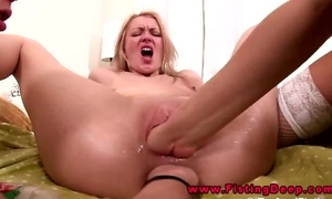 Lesbian 3some includes anal fisting in their gapping holes