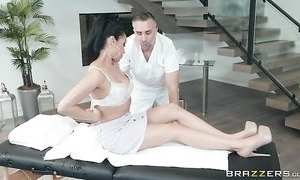Horny brunette chick seduces and fucks her masseur