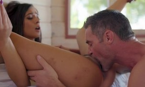Man and his lady are having fun fingering her pussy, then she loves blowjob and finally with her spread legs he fucks her in hardcore sex act with cumshot