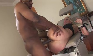 Hot blonde milf in wild hardcore sex after licking balls of ebony black male