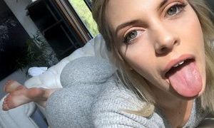Hot blonde young lady loves jerking cock of male off, doing great blowjob, fukcing in hardcore ssex act and having wild orgasm