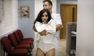 Nymphomaniac brunette shagged by two horny psychiatrists