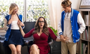 Ravishing MILF with glasses teaches students how to fuck