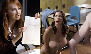 Two spunky MILFs fuck pretty blonde girl in the classroom