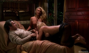 Two blonde-haired MILFs pleasuring lucky guy in hot FFM threesome