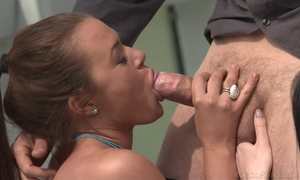 Two spunky babes suck and fuck Erik's cock until it explodes