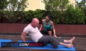 Bald-headed stallion fucks his insatiable yoga teacher