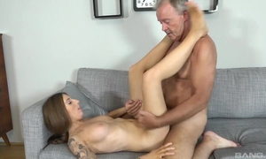 Tattooed brunette with perky tits shagged by older man