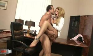 Fabulous chick in high heels pleasuring boss in his office