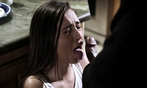 Dark-haired babe gets fucked by her boyfriend and his father
