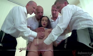 Dark-haired minx with outtie pussy gets gangbanged