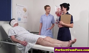 Threeway nurse facialized with massive load