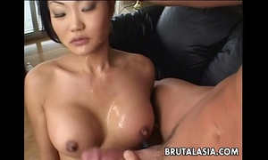 Asian brunette hair bitch sucks and acquires booty drilled real coarse