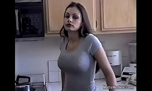 Hot aria giovanni cools off by pouring milk all over her face and milk shakes