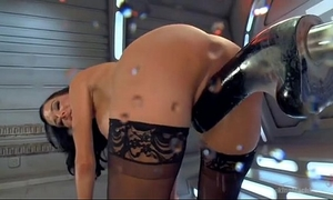 Hot hottie has trembling orgasms on sex toy machine
