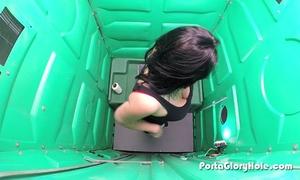 Porta gloryhole engulfing weenie by a lake